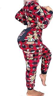 MisShow Women`s One Piece Onsie Print Sleepwear Ugly Christmas Pajamas Jumpsuit Rompers Clubwear Nightwear