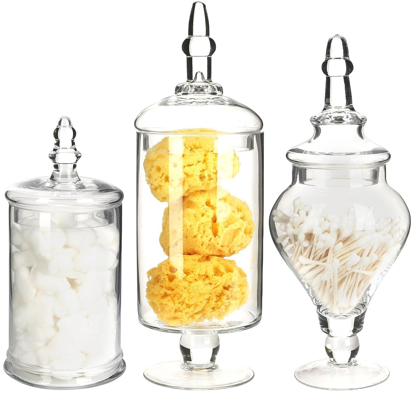 Mantello Decor Glass Apothecary Jars (Clear, Medium, Set of 3)