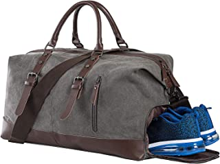 Weekender Bag with Shoe Compartment,Classic Canvas Leather Duffel Bag, Overnight Carry-on Shoulder Duffel Tote Bag for Men and Women-Grey