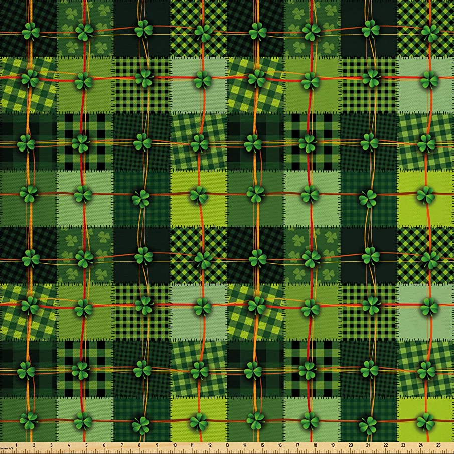 Ambesonne Irish Fabric by The Yard, Patchwork Style St. Patrick's Day Themed Celtic Quilt Cultural Checkered with Clovers, Decorative Fabric for Upholstery and Home Accents, 2 Yards, Multicolor