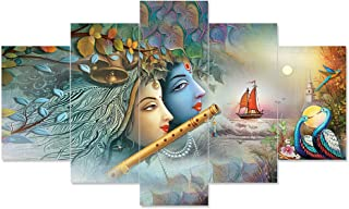 Saumic Craft Set Of 5 Radha Krishna Ji Religious Framed Wall Paintings For Home Decorations , Living Room , Hall , Office...