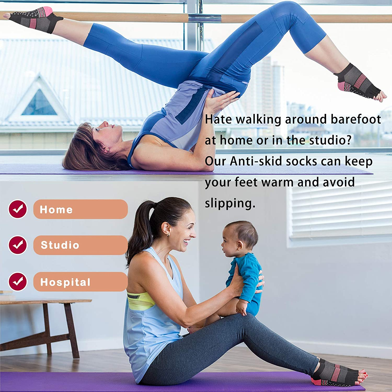 Yoga Socks Non Slip Pilates Barre with Grips for Women Girls
