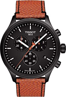 Tissot Men's Chrono XL 316L Stainless Steel case with Black PVD Coating Swiss Quartz Leather Strap, Orange, 22 Casual Watch (Model: T1166173605108)