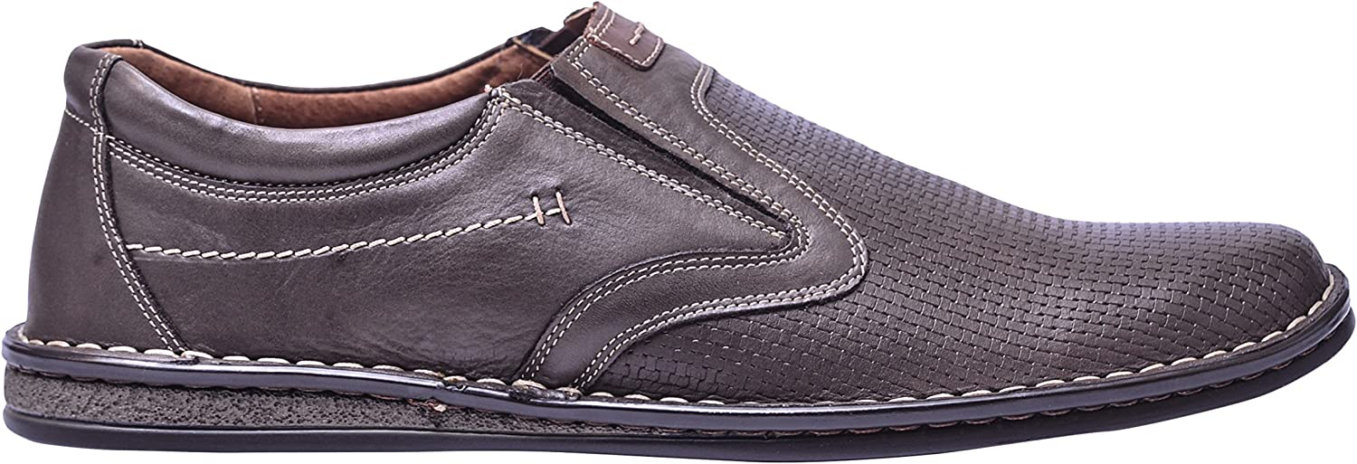 Vogar Mens Leather Slip On Loafers Casual Flat shoes Footwear VG4893P