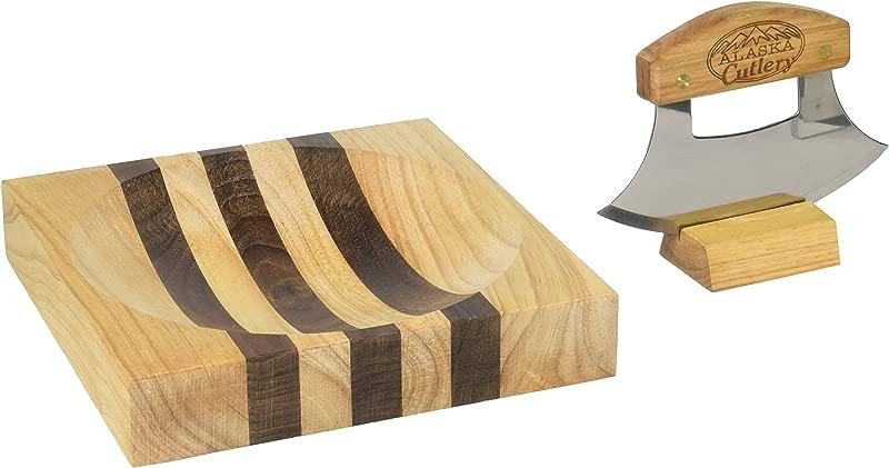 Alaska Ulu Knife Set Curved Knife With Wood Handle Plus Chopping Board With Bowl Easy To Use Rocker Tool For Chopped Salads And Veggies Use Like A One Handled Mezzaluna Made In Alaska USA