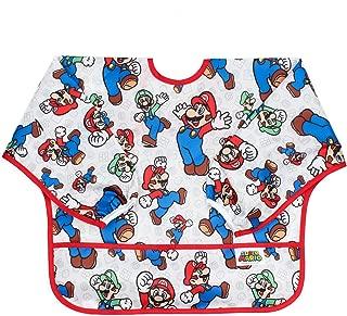 Bumkins Nintendo Waterproof Sleeved Bib, Super Mario (Mario & Luigi) (6-24 Months)