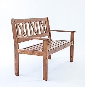 Ambientehome Java Exclusiv EVJE - Banco de 2 plazas para jardín, Madera Maciza, Color marrón