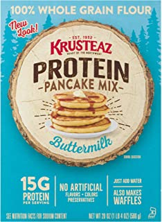 Krusteaz Protein Buttermilk Pancake Mix, 20-Ounce Boxes (Pack of 8)