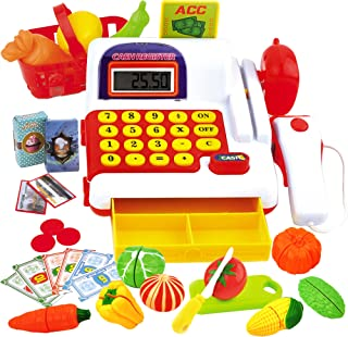 Play Cash Register Toy for Kids | with Electronic Sounds, Scanner, Calculator, Pretend Play Food Toys, Cutting Vegetables and Fruits, Pretend Grocery / Supermarket Toy Cashier with Play Money