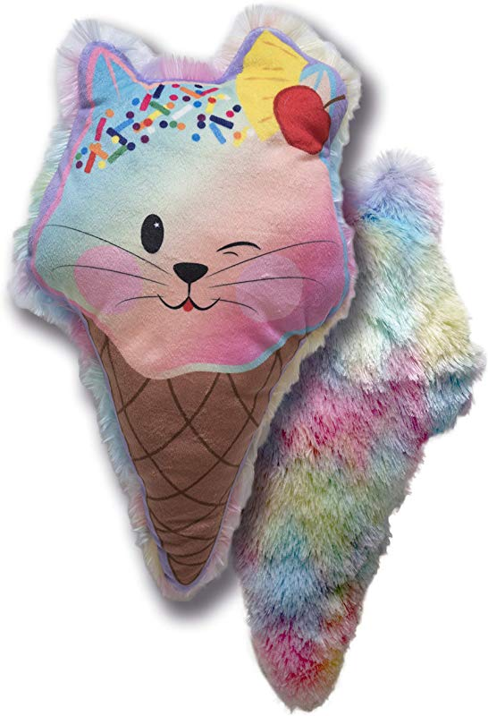 Cuddle Barn Sweetie Treatz Throw Pillow Otto Gelato 15 Ice Cream Cat Pillow For Kids Colorful Rainbow Dessert Home D Cor Soft Plush