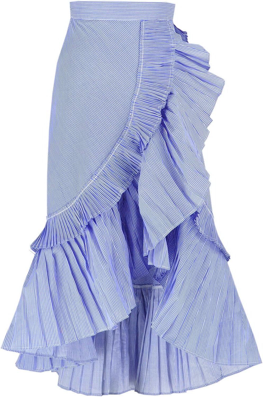 Get The Looks Asymmetric Wrap Ruffled Pleated Skirt