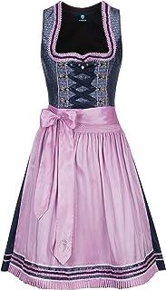Almbock Midi Dirndl - Trachtenkleid kurz für Frauen Made in Germany - Dirndl Damen blau rosa in den Größen 34-44