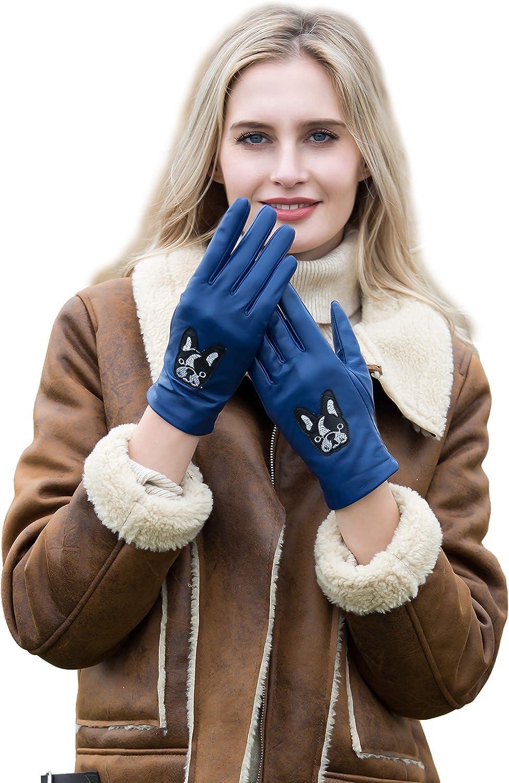 YISEVEN Women's Winter Genuine Sheepskin Leather Gloves Bulldog Embroidery