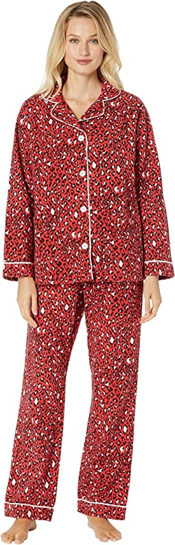 Baby Cheetah Soft Flannel Pajama Set with Contrast Piping and Tie