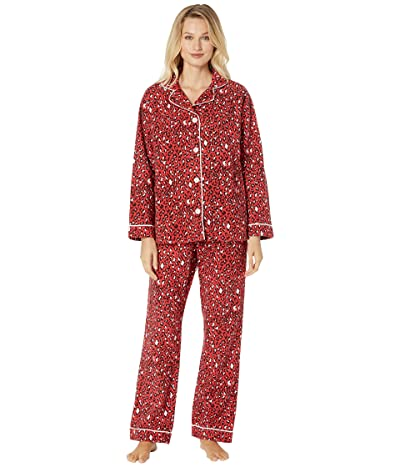 Dylan by True Grit Baby Cheetah Soft Flannel Pajama Set with Contrast Piping and Tie (Red) Women