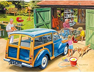 Bits and Pieces - 300 Large Piece Jigsaw Puzzle for Adults - Washing Grandpa's Car - 300 pc Summer Scene Jigsaw by Artist Trevor Mitchell