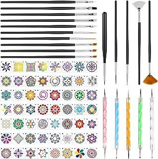 Aokyom 76 Pcs Kit Outil Peinture pour Mandala comprendre de 56 pcs Mandala Pochoir Ensemble 20 pcs Mandala Art Dotting Roc...