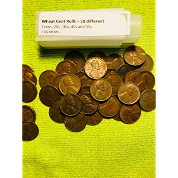 1910-1919 PDS Teen Wheat Penny Cent Roll ~ Average Circulated ~ US Coin Lot 50