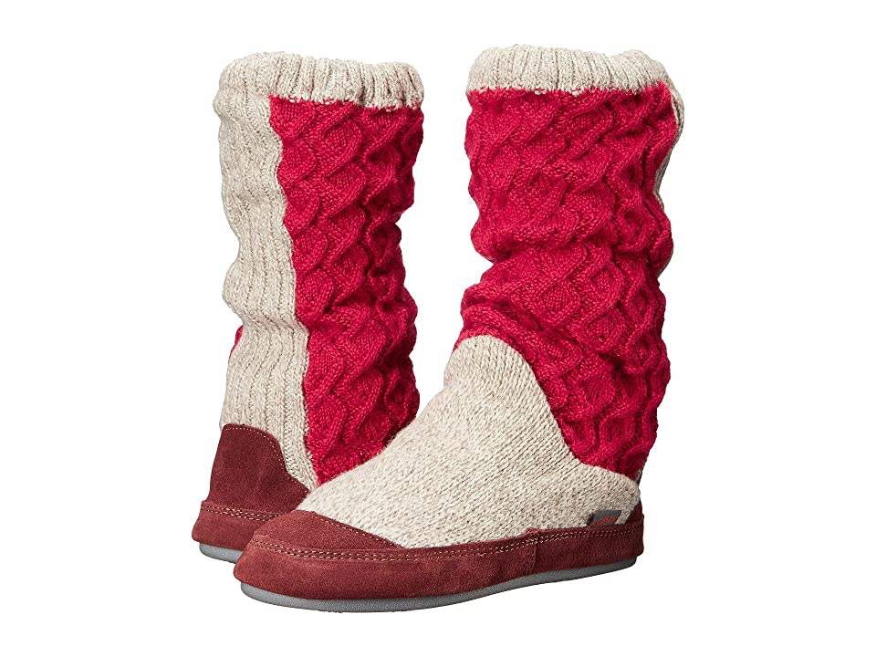 Acorn Slouch Boot (Red Cable Knit) Women