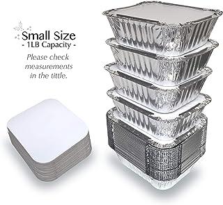 """ظروف بسته بندی فویل آلومینیومی 55 PACK - 1LB با درب آنها را از بسته های قابل حمل یکبار مصرف ظروف غذا بیرون آورید - ظرفیت 1Lb 5.5 """"x 4.5"""" x 1.9 """"- اندازه کوچک"""