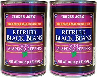 Trader Joe's Refried Black Beans with Jalapeno Peppers - 2 Cans (1 lb.)