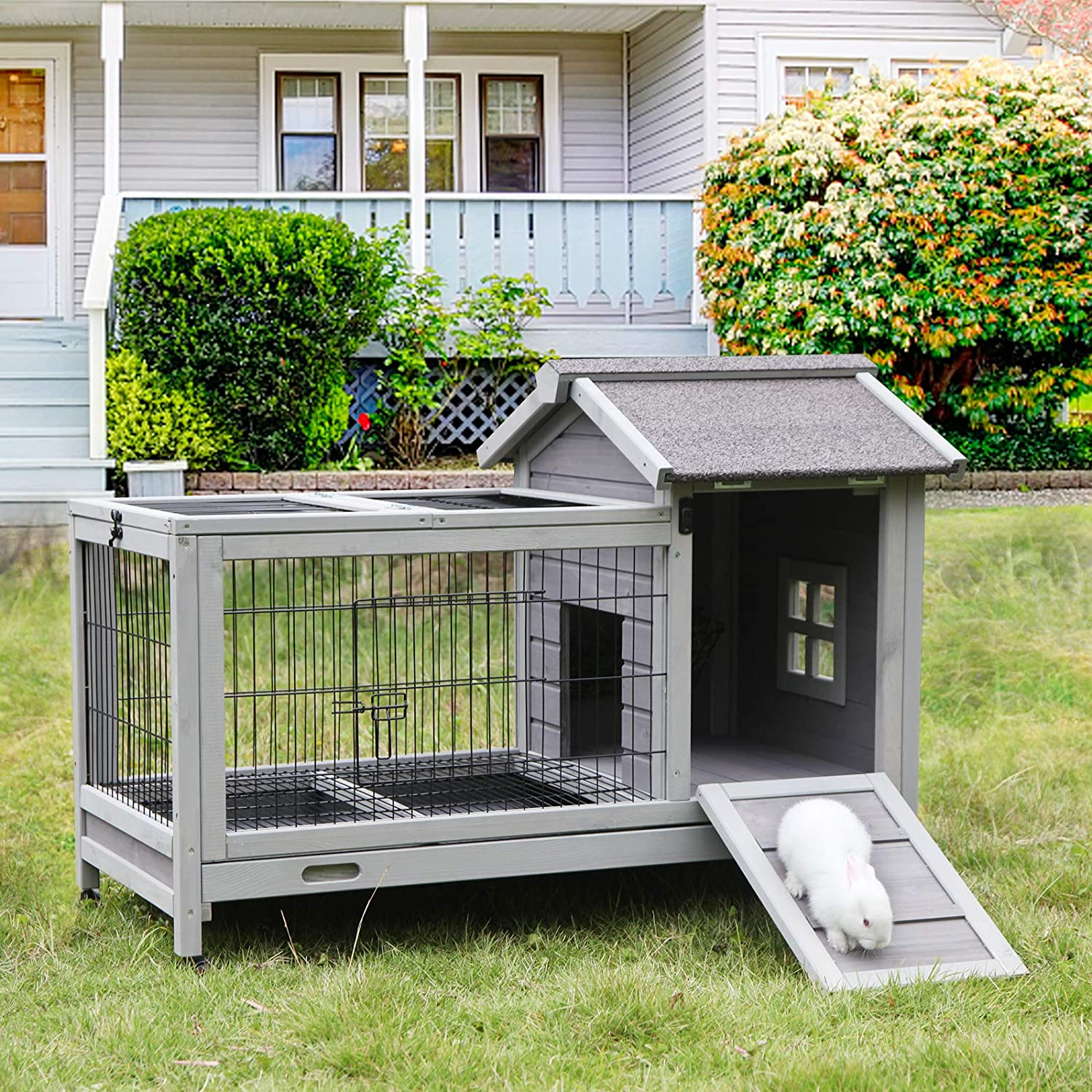 Aivituvin Rabbit Hutch Indoor Rabbit Cage Outdoor Bunny Hutch Guinea Pig  Cage with Removable Wire Floor & Wheels