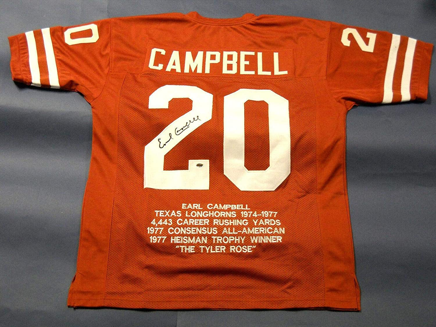 Earl Campbell Signed Jersey  Stat  Autographed College Jerseys
