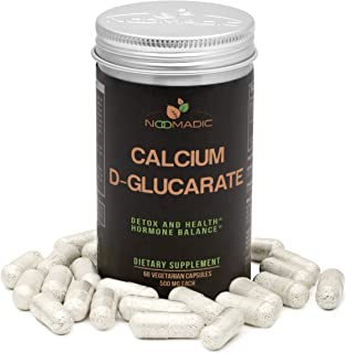 Calcium D-Glucarate (CDG), 60 Capsules | 500mg, Regulates Excess Estrogen Levels & inhibits Estrogen Dominance, Supports Hormonal Acne, Hot Flashes, Detox, Cleanse, Liver, Weight Loss, Metabolism