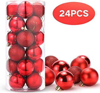 Unigoods 24 Piezas Bolas de Navidad 6 cm Bolas de árbol de Navidad Adorno para Colgar en la Pared Adornos para Colgar Decoraciones(Red)