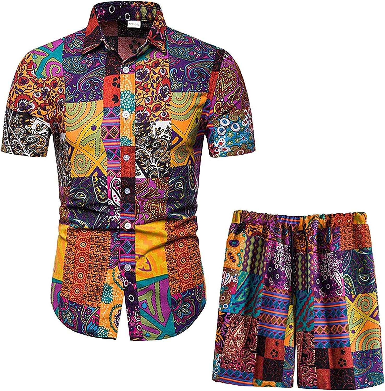 Summer Short Sleeve Men's Set Ethnic Style Printing T-Shirt and Shorts 2 Packs Hip Hop Streetwear Hawaiian Beach Set