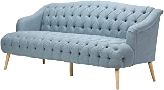 Erin Contemporary Tufted Fabric 3 Seater Sofa, Light Blue and Natural