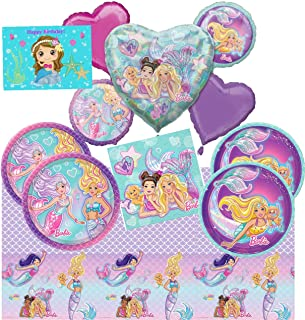 Deluxe Mermaid Barbie Birthday Party Tableware and Decorations Supplies Pack For 16 Guests With Lunch and Dessert Plates, Napkins, Tablecover, Balloon Bouquet Decor and Mermaid Birthday Card by JPMD