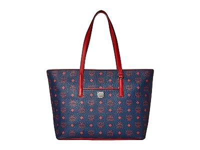 MCM Anya Shopper Shopper Medium (Deep Blue Sea) Handbags