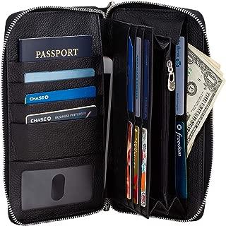 Brelox Travel Wallet Family Passport Holder - RFID Document Organizer for 4 5 6 passports - Genuine Leather - Black