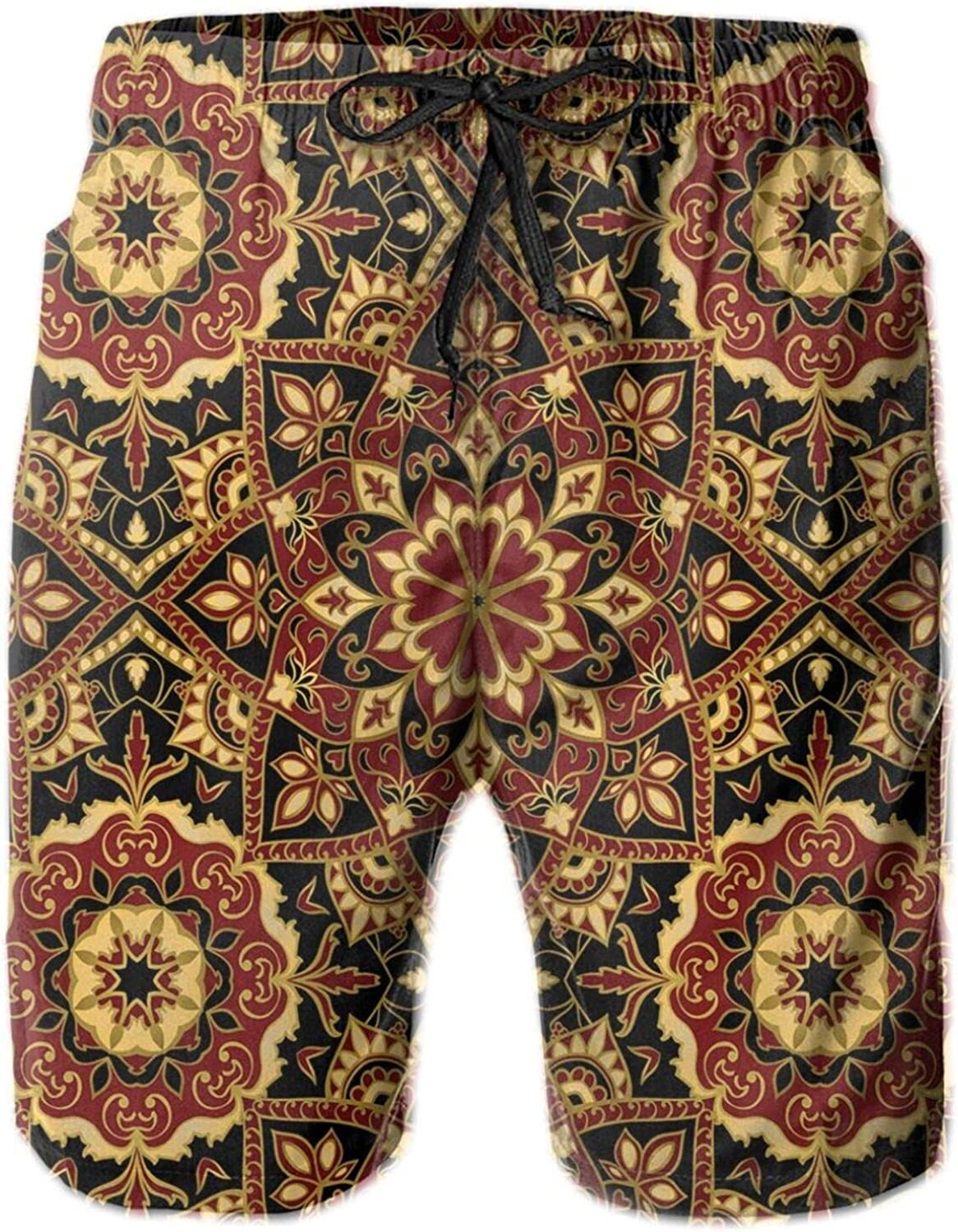 Byzantine Old Ornament in Dark Colors Stylized Medieval Mosaics Mens Swim Trucks Shorts with Mesh Lining,M