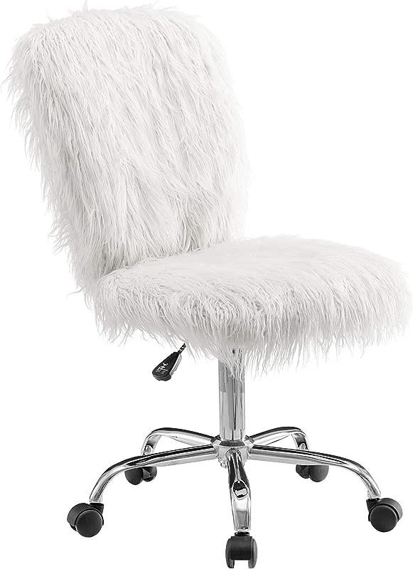 Linon Cora Faux Flokati Armless Office Chair White