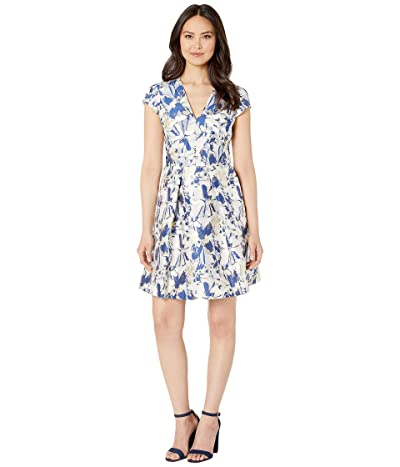 Vince Camuto Cap Sleeve Fit and Flare Dress (Gold Combo) Women