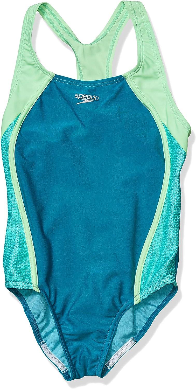 Speedo Girl's Swimsuit Seasonal Wrap入荷 One Piece Splice 直営店 Mesh Strap Thick