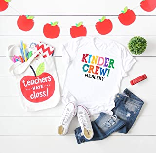 Kindergarten Teacher Shirt, Kinder Crew Personalized Teacher T-shirt, Custom teacher gift on an ultra soft T shirt