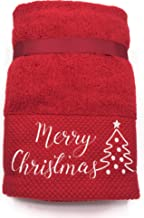 Sophia Set of 2 Embroidered Merry Christmas & Holiday Tree Hand Towel Set for Christmas Holiday Bathroom & Home Decor