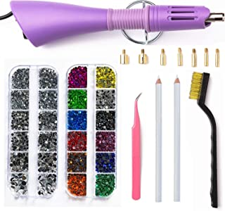 Hotfix Applicator,DIY Hot Fix Rhinestone Setter Applicator Wand Tool Kit Set with 7 Tips,Tweezers,Cleaning Brush and 2 Pack Hot-Fix Rhinestone Crystal Embellishments