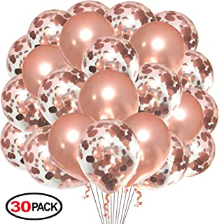 Rose Gold Balloons 10pcs and Rose Gold Confetti Balloons 20pcs,Grier 12inch Party Latex Balloon for Birthday Wedding Engagement Party Bridal Baby Shower Party Decoration
