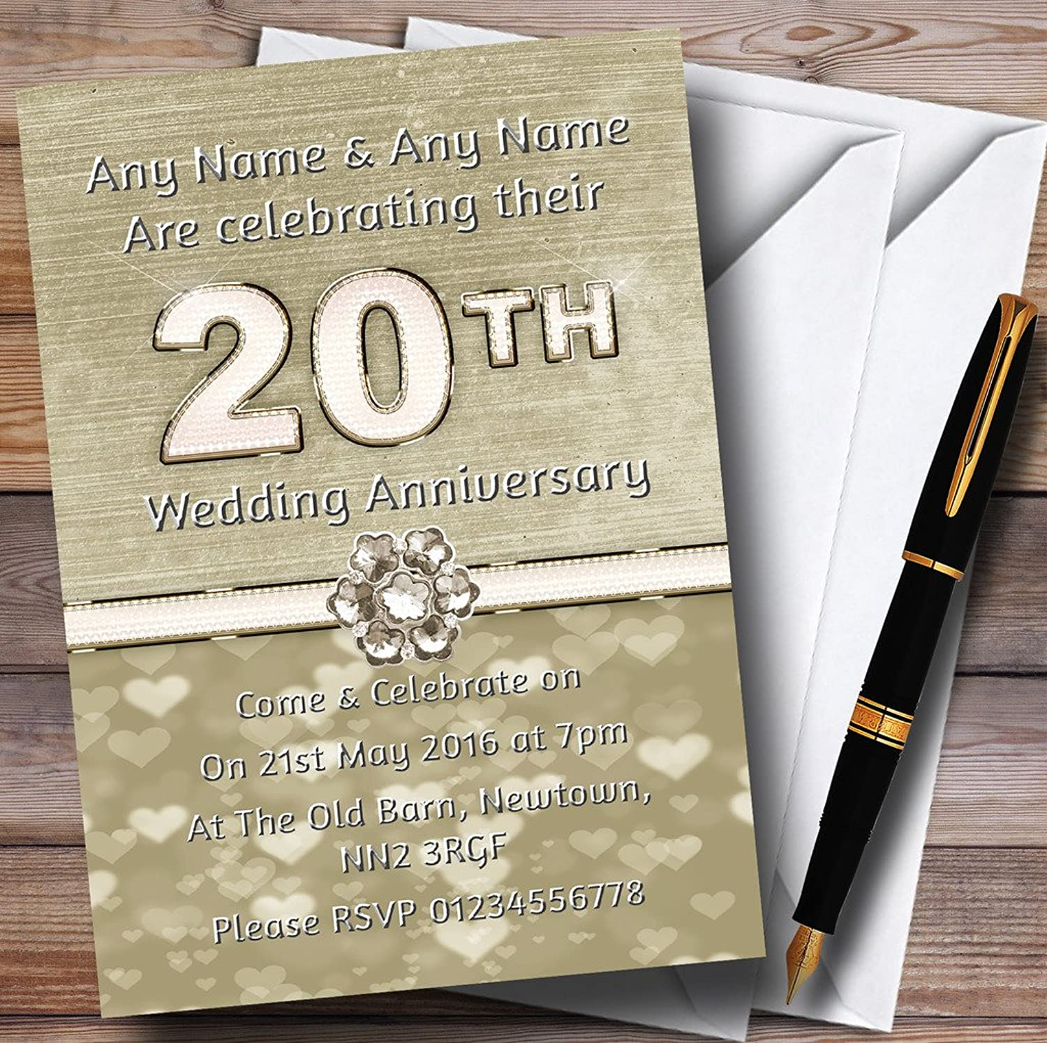 Titanium gold And White 20Th Personalised Anniversary Party Invitations