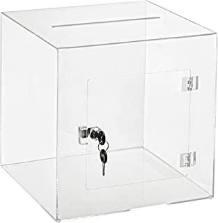 "AdirOffice 12"" x 12"" Acrylic Ballot Box Donation Box with Easy Open Rear Door - Durable Acrylic Box with Lock - Ideal for ..."