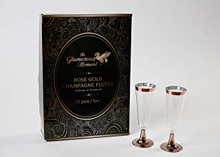 Rose Gold Flutes plastic Champagne Glasses 50-Count, Champagne Flutes 5.5 oz, Clear Hard Disposable Wedding, Elegant & Decorative Drinking Glasses for Parties, Dinnerware, Formal Events Graduation.