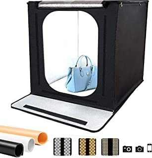 Osaka 60x60 cm Portable Photo Studio Shooting LED Tent Light Cube Diffusion Soft Box Kit with 3 Colors Backdrops (Black White Orange) for Photography