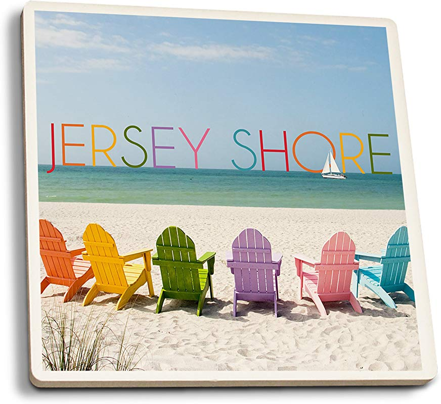 Lantern Press Jersey Shore Colorful Chairs Set Of 4 Ceramic Coasters Cork Backed Absorbent