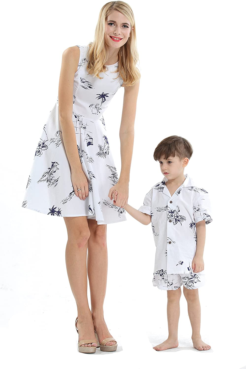 Matching Sales Max 59% OFF for sale Mother Son Hawaiian Luau Vintage Dress Outfit Boy Women