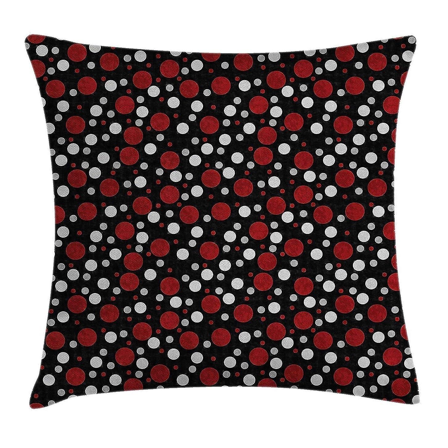 特権的ハウス頂点赤と黒の投球枕クッションカバー、アイビーと花柄のビクトリア朝の花エスニックデザインイメージプリント、装飾的な正方形のアクセント枕カバー、ルビーブラック18×18インチ