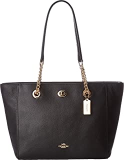 Women's Pebbled Turnlock Chain Tote 27